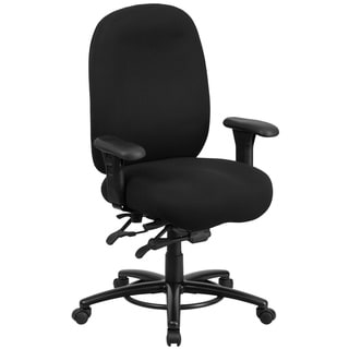Hercules 24/7 Intensive Use Multi-shift Big and Tall Black Fabric Multi-functional Swivel Chair with Foot Ring