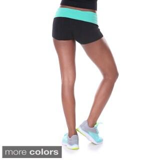 White Mark Women's Yoga Bright Fold Over Shorts