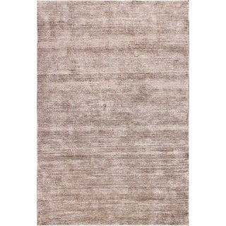 Hand-woven Textured Taupe Rayon from Bamboo Silk Area Rug (9' x 12')