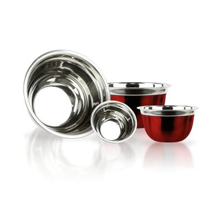 Red Stainless Steel 4-piece Mixing Bowl Set
