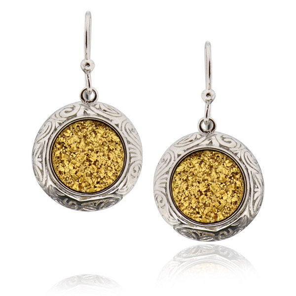 Sterling Silver Round Druzy Earring