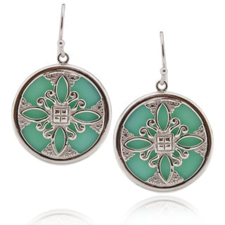 Handmade Sterling Silver Round Turquoise Earrings (China)