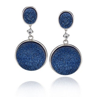 Sterling Silver Round Blue Druzy Dangle Earring (China)