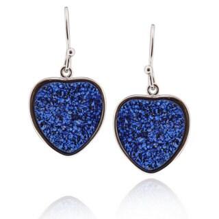 Sterling Silver Heart Druzy Earring