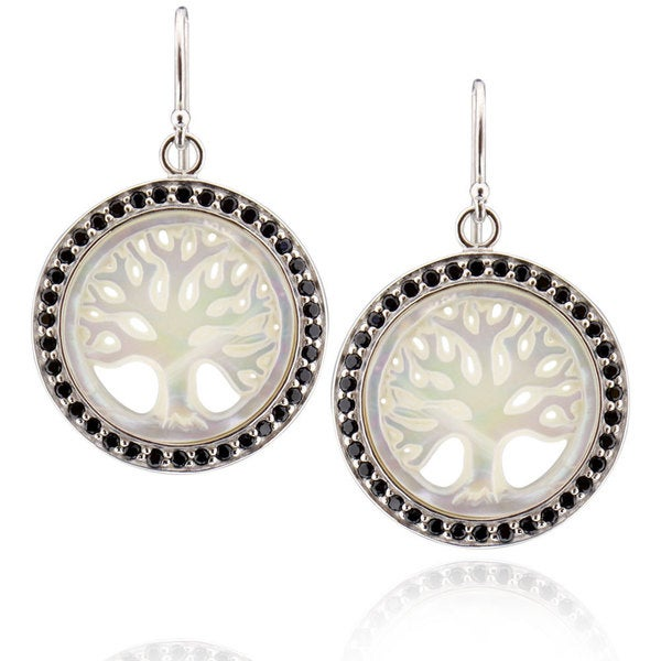 Sterling Silver Round Mother of Pearl Earring