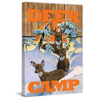 """Marmont Hill - """"Deer Camp 2"""" by Saturday Evening Post Painting Print on Canvas"""