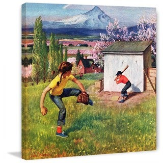 """Marmont Hill - """"Oregon Baseball"""" by John Clymer Painting Print on Canvas"""