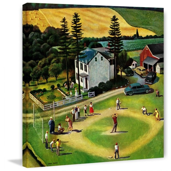 "Marmont Hill - ""Family Baseball"" by John Falter Painting Print on Canvas - Multi-color"