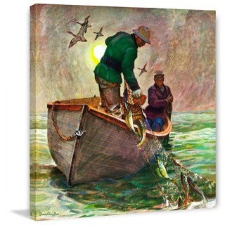 """Marmont Hill - """"Fishing with Nets"""" by Mead Schaeffer Painting Print on Canvas"""