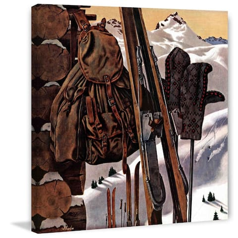 Marmont Hill - Handmade Ski Equipment Still Life Painting Print on Canvas