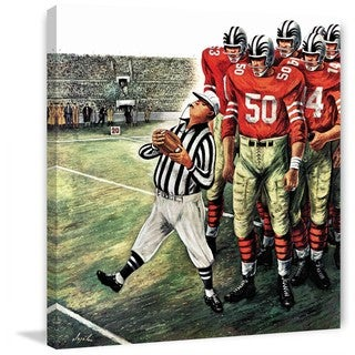 """Marmont Hill - """"Five Yard Penalty"""" by Constantin Alajalov Painting Print on Canvas - Multi-color"""