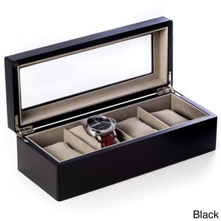 Bey Berk Wood Glass Top Watch Box