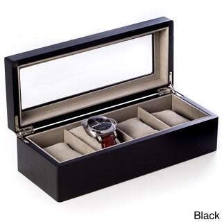 Bey Berk Wood Glass Top Watch Box