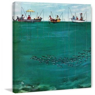 "Marmont Hill - ""School of Fish Among Lines"" by Thornton Utz Painting Print on Canvas"