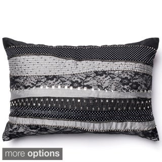 Vera Grey/ Black Sequined Down Feather or Polyester Filled 13x21 Throw Pillow or Pillow Cover
