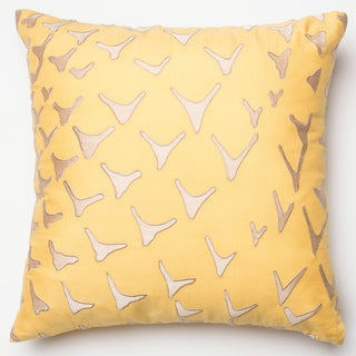 Erina Yellow Embroidered Down Feather or Polyester Filled 18-inch Throw Pillow or Pillow Cover