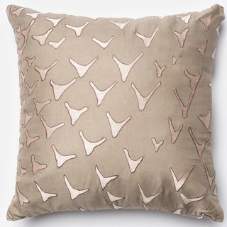 Erina Taupe Embroidered Down Feather or Polyester Filled 18-inch Throw Pillow or Pillow Cover