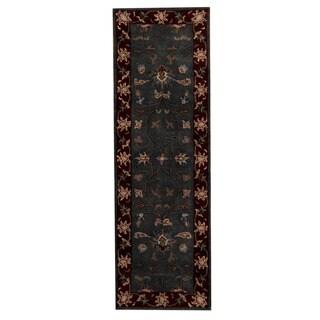 Herat Oriental Indo Hand-tufted Mahal Dark Blue/ Red Wool Area Rug (2'7 x 8')