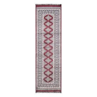 Herat Oriental Pakistani Hand-knotted Tribal Bokhara Burgundy/ Ivory Wool Rug (2'11 x 10'4)
