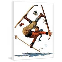 "Marmont Hill - ""Wipeout on Skis"" by Eugene Iverd Painting Print on Canvas - Multi-color"