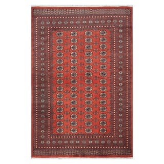Herat Oriental Pakistani Hand-knotted Tribal Bokhara Red/ Ivory Wool Rug (6'8 x 10')