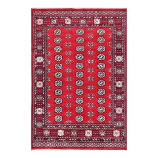 Herat Oriental Pakistani Hand-knotted Tribal Bokhara Red/ Ivory Wool Rug (6' x 8'10)