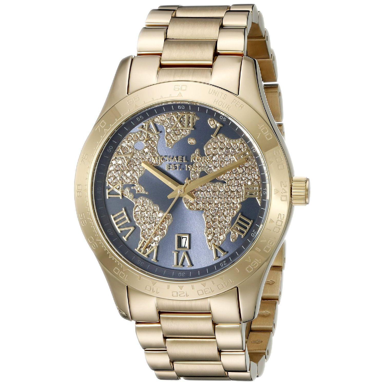 Michael Kors Womens Layton Navy Crystal Map  Dial Gold-Tone Stainless Steel Bracelet Watch MK6243 MK6243