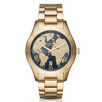 Michael Kors Women's Layton Navy Crystal Map  Dial Gold-Tone Stainless Steel Bracelet Watch MK6243