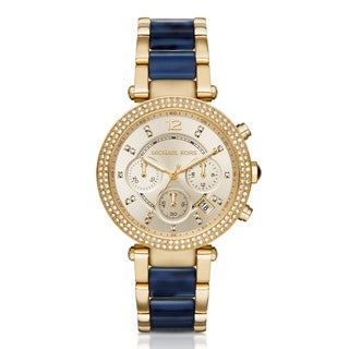 Michael Kors Women's Parker Diamond Chronograph Gold Dial Two-Tone Stainless Steel And Acetate Bracelet Watch MK6238