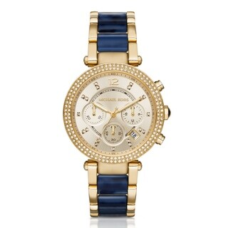 Michael Kors Women's Parker Diamond Chronograph Gold Dial Two-Tone Stainless Steel And Acetate Bracelet Watch