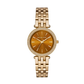 Michael Kors Women's Darci Diamond Amber Sunray Dial Gold-Tone Stainless Steel Bracelet Watch MK3408