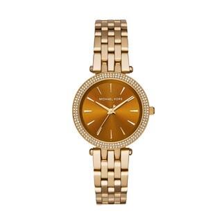 Michael Kors Women's Darci Diamond Amber Sunray Dial Gold-Tone Stainless Steel Bracelet Watch MK3408