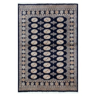 Herat Oriental Pakistani Hand-knotted Tribal Bokhara Navy/ Beige Wool Rug (4'1 x 6')