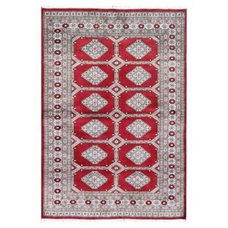 Herat Oriental Pakistani Hand-knotted Tribal Bokhara Red/ Light Blue Wool Rug (4'1 x 5'10)