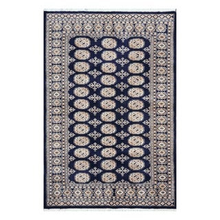 Herat Oriental Pakistani Hand-knotted Tribal Bokhara Navy/ Light Gray Wool Rug (4'2 x 6'3)