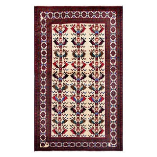 Herat Oriental Afghan Hand-knotted Tribal Balouchi Ivory/ Red Wool Rug (3'10 x 6'3)