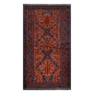 Herat Oriental Afghan Hand-knotted Tribal Balouchi Light Brown/ Navy Wool Rug (3'8 x 6'9)