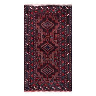 Herat Oriental Afghan Hand-knotted Tribal Balouchi Burgundy/ Navy Wool Rug (3'7 x 6'6)