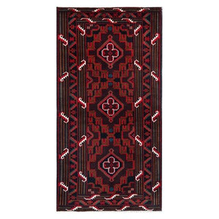Herat Oriental Afghan Hand-knotted Tribal Balouchi Brown/ Red Wool Rug (3'7 x 6'8)