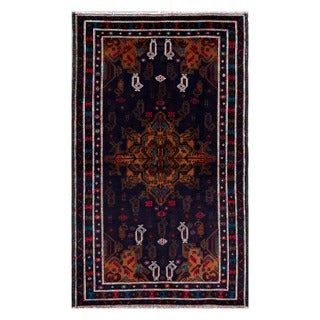 Herat Oriental Afghan Hand-knotted Tribal Balouchi Wool Rug (3'7 x 6'1)
