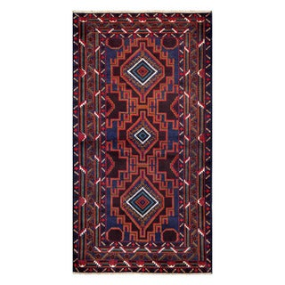 Herat Oriental Afghan Hand-knotted Tribal Balouchi Blue/ Burgundy Wool Rug (3'7 x 6'11)