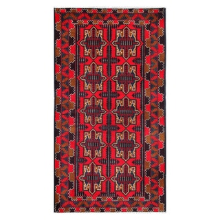 Herat Oriental Afghan Hand-knotted Tribal Balouchi Red/ Light Brown Wool Rug (3'8 x 6'8)