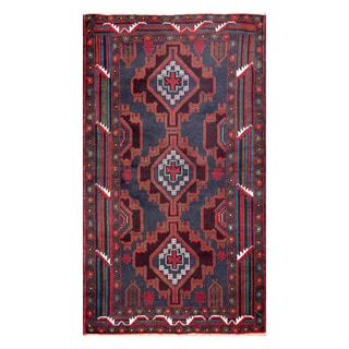 Herat Oriental Afghan Hand-knotted Tribal Balouchi Navy/ Burgundy Wool Rug (3'6 x 6'2)
