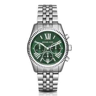 Michael Kors Women's Lexington Chronograph Green Dial Silver-Tone Stainless Steel Bracelet Watch MK6222