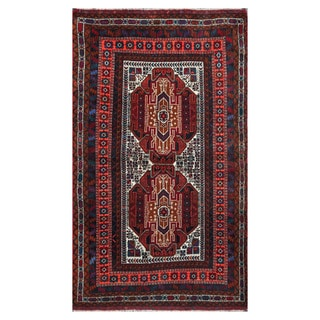 Herat Oriental Afghan Hand-knotted Tribal Balouchi Ivory/ Brown Wool Rug (3'10 x 6'3)