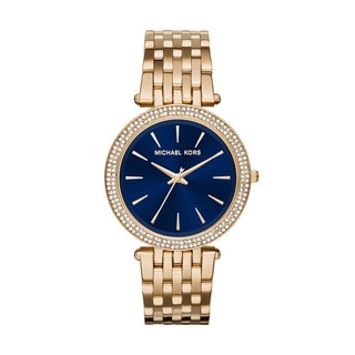 Michael Kors Women's Darci Diamond Blue Dial Gold-Tone Stainless Steel Bracelet Watch MK3406
