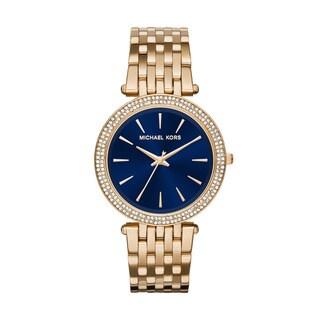 Michael Kors Women's Darci Diamond Blue Dial Gold-Tone Stainless Steel Bracelet Watch MK3406