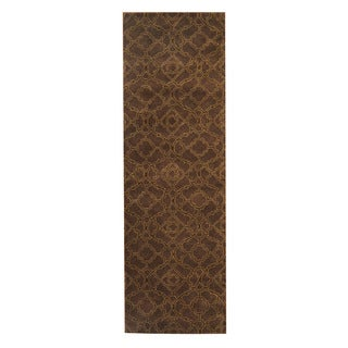 Herat Oriental Indo Hand-Tufted Tibetan Brown/ Green Wool Rug (2'6 x 8')