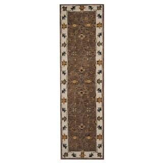 Herat Oriental Indo Hand-Tufted Mahal Brown/ Ivory Wool Rug (2'4 x 8')
