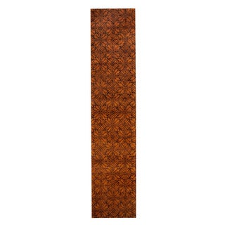 Herat Oriental Indo Hand-Tufted Tibetan Gold/ Brown Wool Rug (2'7 x 12')